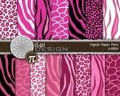 Pink Animal Print - Digital Paper & Printable Backgrounds - pink zebra, tiger, giraffe, leopard scrapbook paper - Instant Download (DP080P)