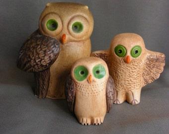 Vintage ceramic owl figurines -Big Green Eyes