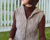 Sleeveless Cable Hoodie to Knit PDF Pattern Instant Download
