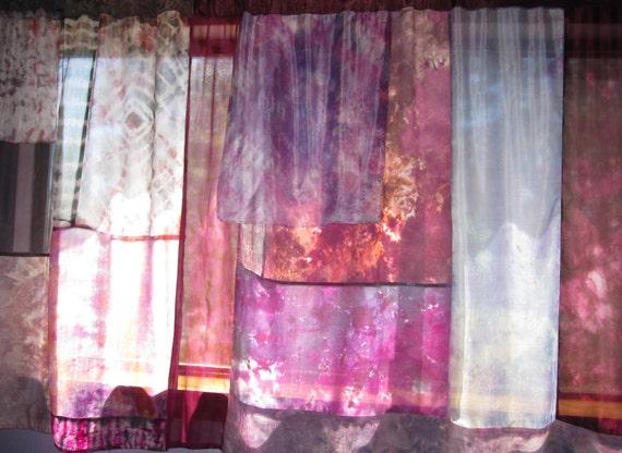 Hippie Tie Dyed Boho Silk Curtains