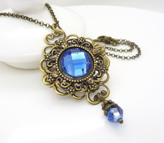 Blue crystal necklace, gothic necklace, blue victorian necklace, gothic jewelry