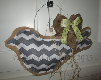 Big Burlap Bird Door Hanger Mixed Media Chevron Pattern