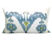 Schumacher Raja Embroidery lumbar pillow cover in Sky