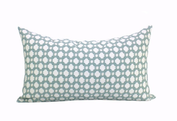 Betwixt lumbar pillow cover in Water/Ivory