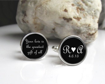 Personalized Cufflinks, Groom Cufflinks, Custom Bride And Groom Initials