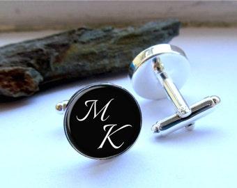 Mens Cufflinks, Personalized Monogram Cufflinks, Cuff Links