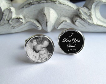 Father Of The Bride Cufflinks, Personalized Photo Cufflinks, Wedding Cufflinks