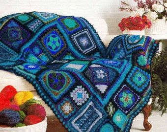 CROCHET BLANKET PATTERN Vintage 1970s Granny Square Afghan,Retro Boho/Folk/Ethnic Afghan/Throw, Instant Pdf from GrannyTakesATrip 0190