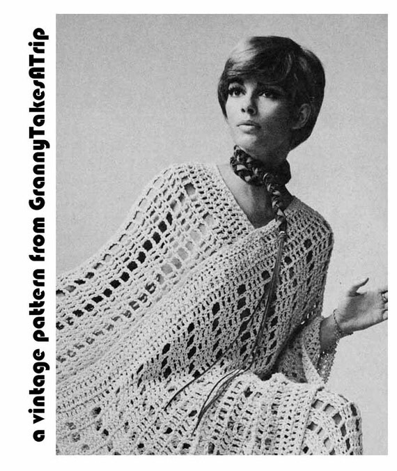 1970s Vintage Pattern to Crochet PONCHO /CAPE & PANTS Suit, Mesh, Lacy, Boho/Hippie/Retro Instant Pdf Pattern from GrannyTakesATrip 0040