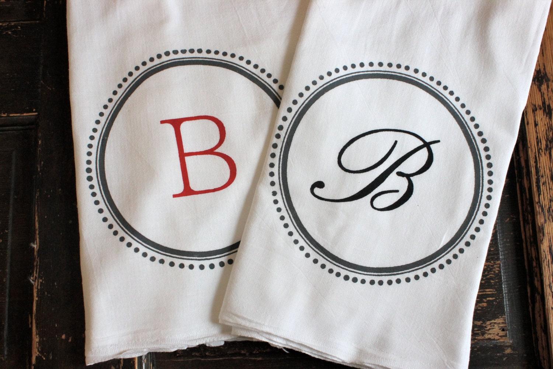 3 Custom Monogram Towelsteatowels Flour Sack Towelstea