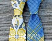 Boys Necktie -- Boys Yellow and Gray Tie -- Boys Yellow and Blue Tie -- Wedding Neckties