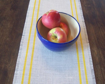 Burlap Table Runner 12 x 60 - 14 x 60 - 16 x 60 with Yellow Stripes - Choose Colors - Striped Table Runner - Summer Decor Table Runnner