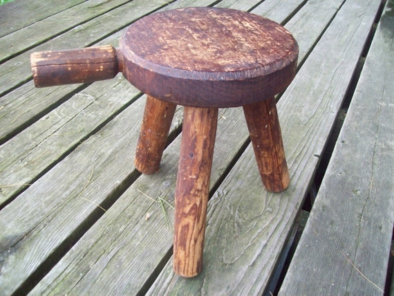 Vintage Milking Stool Three Legged By Northcountrycomforts