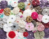 Fabric yo yo flowers, Mixed colors and sizes fabric yoyos with pearls, craft supply, headbands embellishments, applique, wholesale yoyo