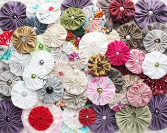 Fabric yo yo flowers, Mixed colors and sizes fabric yoyos with pearls, craft supply, headbands embellishments, applique, wholesale yoyo
