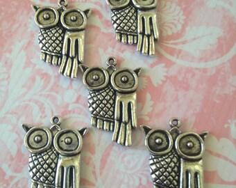Owl charm - 5 pieces