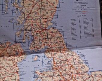 Vintage Road Map : Old Bartholomews Road Atlas, United Kingdom, Old British Road Map Book