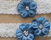 MOLLIE - Something Blue Lace Bridal Garter Set, Toss Garter plus Keepsake Garter