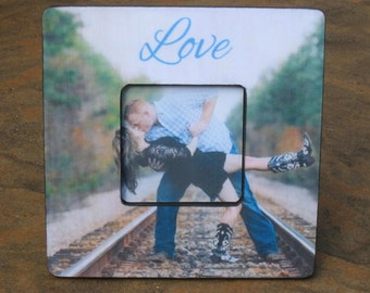 """Unique Engagement Gift, Personalized Picture Frame, Custom Wedding Gift, Anniversary Gift, Bridal Shower Gift, 8"""" x 8"""", Valentine's Day Gift"""