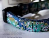 Blue Cherry Blossom SAKURA Dog Collar