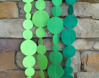 Ombre Green Felt Garland with Bakers Twine