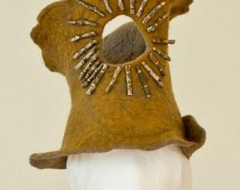 Folk Art Hat - wet felted hat