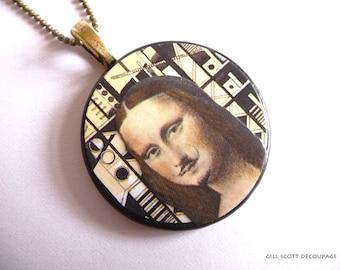 Marcel Duchamp pendant - Altered art necklace -  Mona Lisa art painting pendant - Brown Cream - OOAK Eco-friendly gift - EASTER SALE!