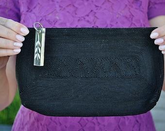 Vintage Black Clutch Purse 1940s