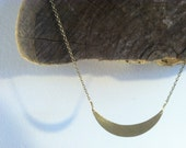 Sliver of Moon Pendant in a Hammered Brass Crescent Necklace