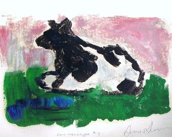 """Cow Art Monotype Print, Paint on Paper, Vintage Original Monoprint, 10"""" x 13"""" OOAK"""