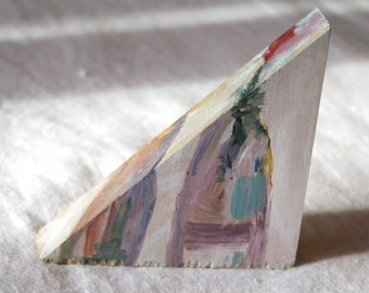 Tiny Triangle Painting, Still Life Flower in Bottle, Original Art, 3""