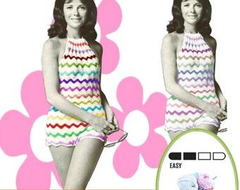 VKNC266 Vintage  Crochet Ladies Playsuit Pattern cool cotton summer or clubbing Instant Download