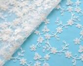 RESERVED for SSMASSIP, Ivory Lace Fabric, Floral Wedding Dress, Bridal Veil, Embroidered Tulle, DIY Wedding Dress,