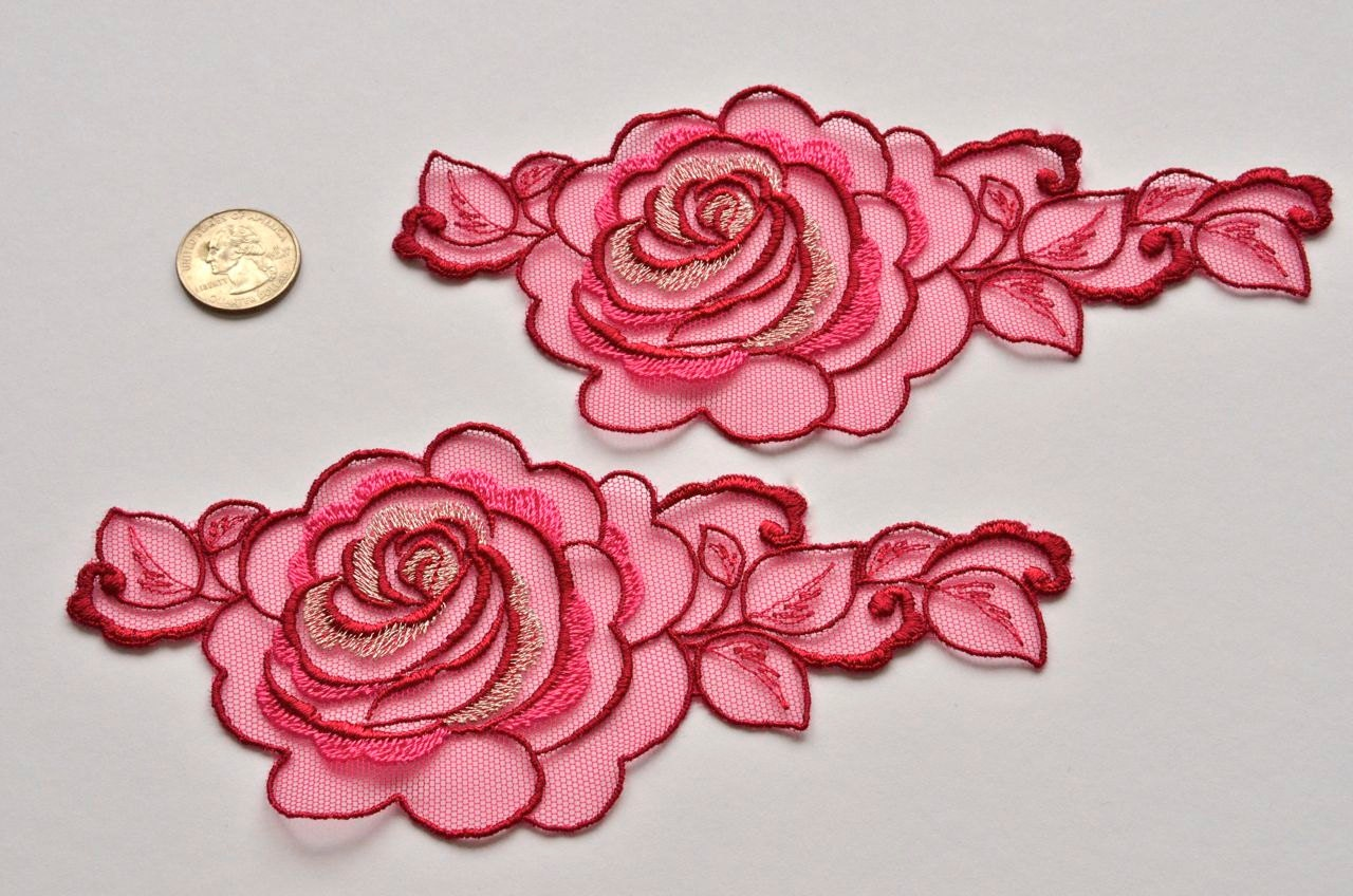 Ruby red rose xtra large embroidered flower by vintagetoliveby