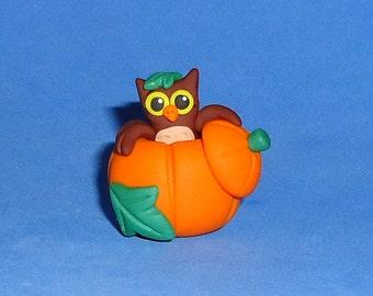 Polymer Clay Autumn Owl in Pumpkin