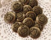 Dominion Buttons Heraldry Shank Bulk Lot of 48 Bronze Tone