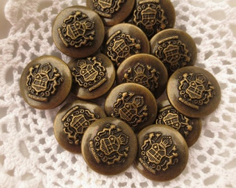 Dominion Buttons Heraldry Shank Bulk Lot of 74 Bronze Tone