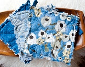 SALE 20% Off Set of 3 Rag Quilt Hot Pads in Blue and Grey and Tan Floral Ready to Ship