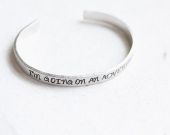 Handstamped Hobbit quote cuff