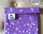 """Purple Flower Print Luau Wrap Organic Cotton Lunch Sandwich Snack Bag Moisture Proof, Reusable, Washable- Large 7"""" x 6.5"""""""