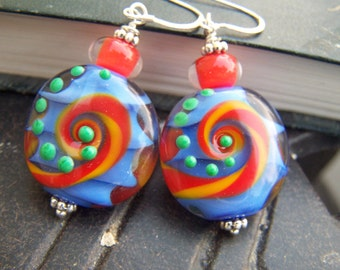 Southwest Style Earrings Lampwork Swirls Blue Red
