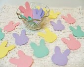 Bunny Die Cuts Cardstock Easter Bunnies 60 pieces Pink Yellow Green Lavender Table Decor