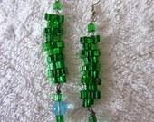FREE SHIPPING - Green and Blue Peyote Beaded Dangle Earrings
