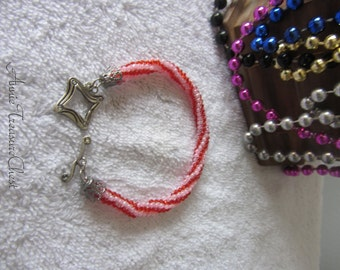 Pink and Red Round Peyote Bracelet