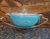 Reserved for Tara-- Vintage Turquoise Pyrex--Lace Medallion & Scroll