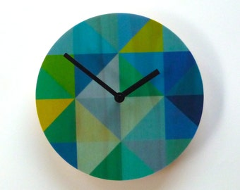 Objectify Grid - Blue/Green Wall Clock