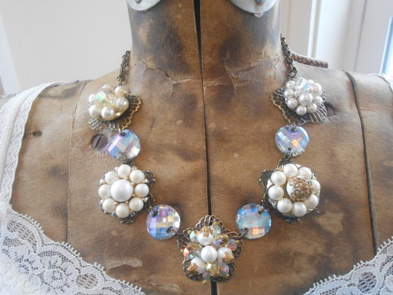 Pearl Crystal Charm Necklace Repurposed Vintage Crystal Earrings Antique Gold Flower Filigree Bridal Wedding