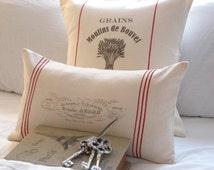 Grains Moulins de Bouvet French grainsack / feedsack Pillow Treasury featured item