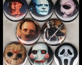 "8 Brand New 1"" ""Slasher Monsters"" Button Set"