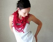 Shag Scarf Necklace - Red Upcycled Jersey Cotton Infinity Scarf - Eco Friendly T Shirt Loop Scarf